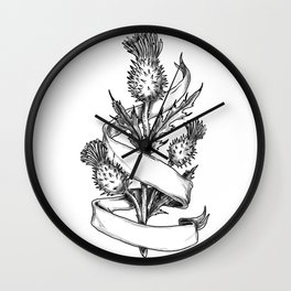 Scottish Thistle With Ribbon Sketch Wall Clock