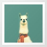 llama Art Prints featuring Llama by ernieandbert