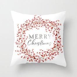 Merry Christmas wreath. Red berry Deko-Kissen
