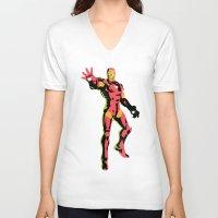 iron man V-neck T-shirts featuring iron man  by mark ashkenazi