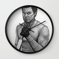 dexter Wall Clocks featuring Dexter by Jack Kershaw