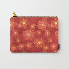 Red orange flowers on an orange background . Carry-All Pouch