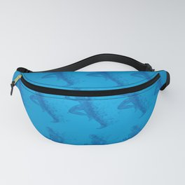 Watercolor running man silhouette background in blue color pattern Fanny Pack