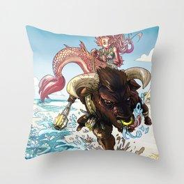 MERMAID RIDING A MINOTAUR Throw Pillow