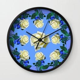 WHITE ROSES BLUE GREEN GARDEN DESIGN PATTERN Wall Clock
