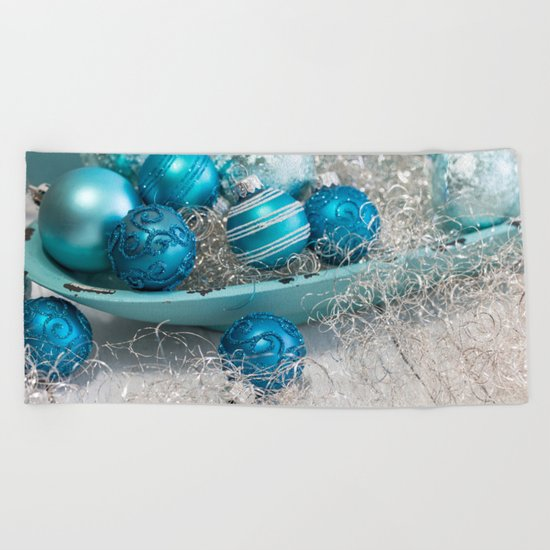 Blue  turquoise christmas baubles and bowl Beach Towel