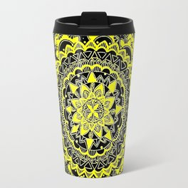 Black and Yellow Gold Regal Mandala Travel Mug