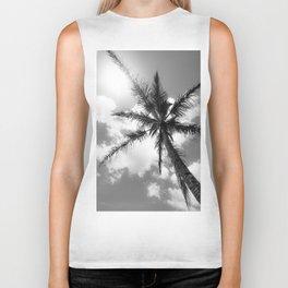 Tropical Palm Trees Black and White Biker Tank