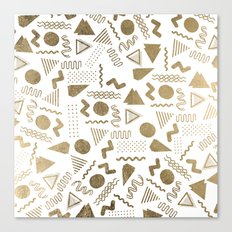 Retro abstract geometrical faux gold white 80'spattern Canvas Print