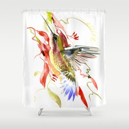Flying Hummingbird and red tropical foliage Shower Curtain