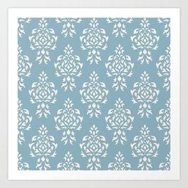 Crest Damask Repeat Pattern Cream on Blue Art Print