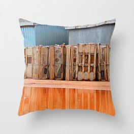 Lobster Traps in Wait Throw Pillow