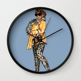 LADY (blue background) Wall Clock