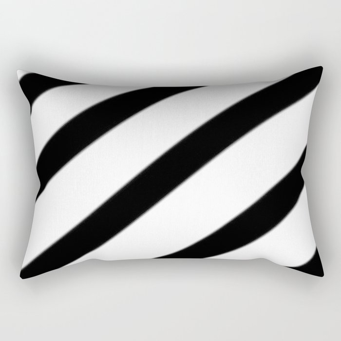 Soft Diagonal Black and White Stripes Rectangular Pillow