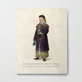 Illustrated Costume of Ancient China Hand Drawing Chinoiserie Art Metal Print