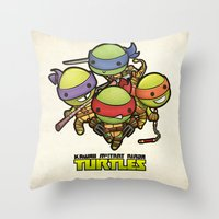 ninja turtles Throw Pillows featuring Kawaii Mutant Ninja Turtles by Squid&Pig