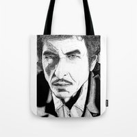 bob dylan Tote Bags featuring Bob Dylan by Jocke Hegsund