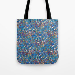 Buttons in Blue Tote Bag