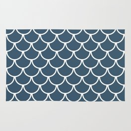 Dusky Blue Fish Scales Pattern Rug
