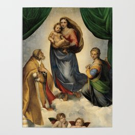 The Sistine Madonna Oil Painting by Raphael Poster