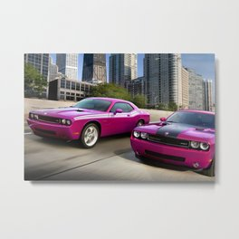Limited Edition Fuchsia Panther Pink Challenger RT Classic Variation Models Metal Print