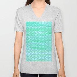 Magic Sea Watercolor Seigaiha Pattern Unisex V-Neck