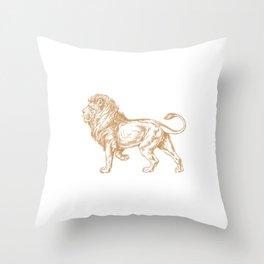 Strong Proud Lion Dark Gold Throw Pillow