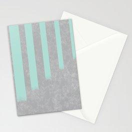 Soft cyan stripes on concrete Stationery Cards