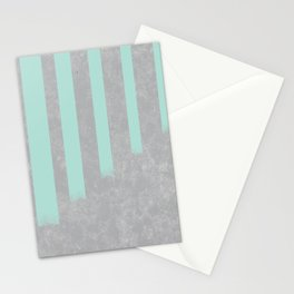 Soft cyan stripes on concrete Stationery Cards