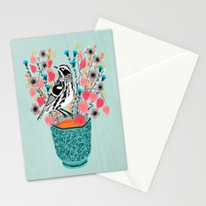 Tea and Flowers - Black and White Warbler by Andrea Lauren Stationery Cards