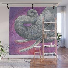 Happy Elephant Watercolor Wall Mural