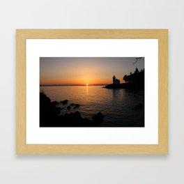 Lime Kiln Lighthouse Sunset Framed Art Print