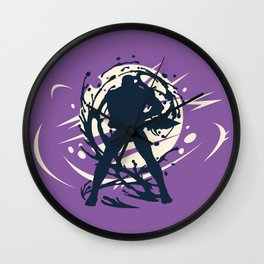 Black Japanese Ninja Warrior Fantasy Silhouette Wall Clock