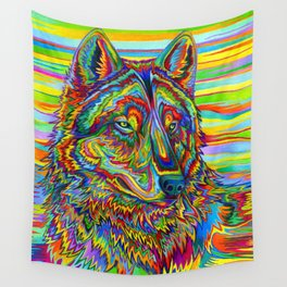Colorful Psychedelic Rainbow Wolf Wall Tapestry