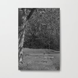 Tree Swing bw Metal Print
