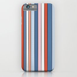 Striped pattern Colorful Stripe design - red, blue, white, orange iPhone Case