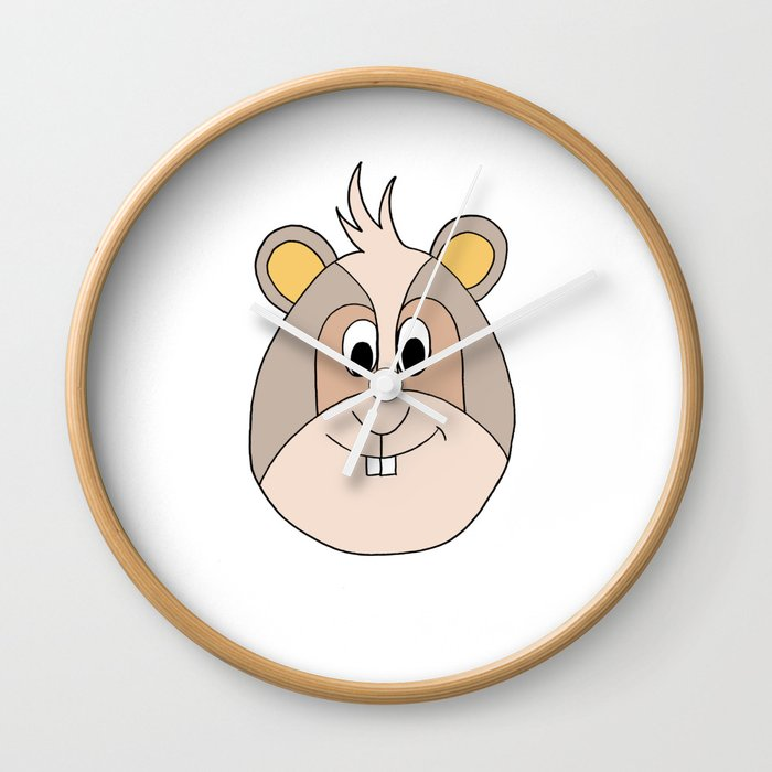 Drawing Cartoon Of A Funny Looking Guinea Pig Wall Clock By Studio