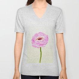 pink cultivited buttercup, Ranunculus Unisex V-Neck