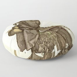 Owl dressed as a pilgrim 1550 Floor Pillow