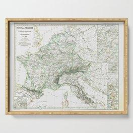 Vintage Map - Spruner-Menke Handatlas (1880) - 30 Charlemagne's Frankish Empire before 900 AD Serving Tray