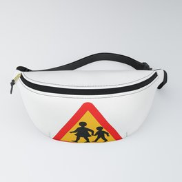 Children Crossing Traffic Sign Isolated Fanny Pack