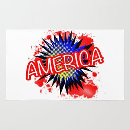 America Red White And Blue Cartoon Exclamation Rug