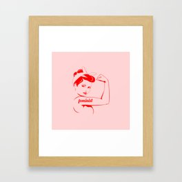 Feminist cool woman logo Framed Art Print