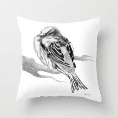 Sparrow Bird Snoozing Throw Pillow