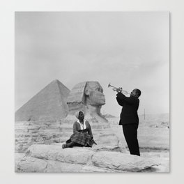 Black and White Photo of Louis Armstrong at the Egyptian Sphinx Canvas Print