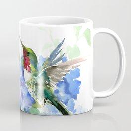 Hydrangea Flowers and Ruby Throat Hummingbird Coffee Mug