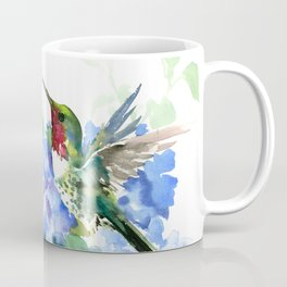 Hydrangea Flowers and Ruby Throat Hummingbird Coffee Mug