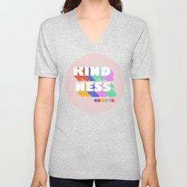 Kindness counts - rainbow typography Unisex V-Neck