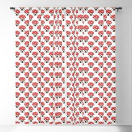 Red and white mushroom house seamless pattern Blackout Curtain