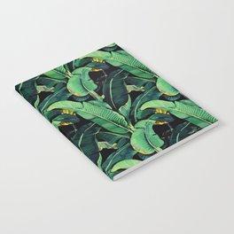 Watercolor banana leaves night pattern Notebook